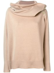 Mes Demoiselles Oversized Neck Sweater Nude And Neutrals