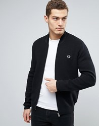 Fred Perry Bomber Neck Cardigan In Navy Navy