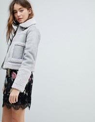 Bershka Aviator Crop Jacket Grey