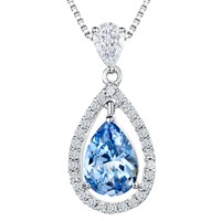 Jools By Jenny Brown Cubic Zirconia Suspended Pear Stone Necklace Blue Clear