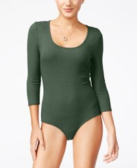Almost Famous Juniors' Rib Knit Bodysuit Olive