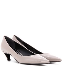Balenciaga Patent Leather Kitten Heel Pumps Grey