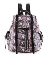 French Connection Kyle Snake Print Flap Backpack Python