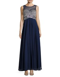 Decode 1.8 Embellished Flared Gown Navy