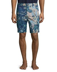 J Brand Tropical Camo Print Trouser Shorts Blue Blue Pattern