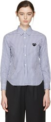 Comme Des Garcons Play Blue And White Striped Heart Patch Shirt