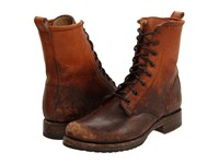 Frye Veronica Combat Cognac Stone Wash Women's Lace Up Boots Brown