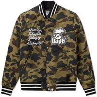 A Bathing Ape 1St Camo Bape Varsity Jacket Green