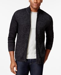 Alfani Black Big And Tall Marled Full Zip Mock Neck Sweater Only At Macy's Shadow Ground