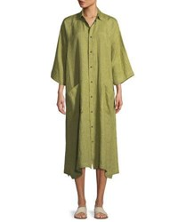 Eskandar 3 4 Sleeve Linen Shirt Dress Lime