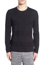 Men's Kenneth Cole New York Solid And Mesh Stripe Sweater Black