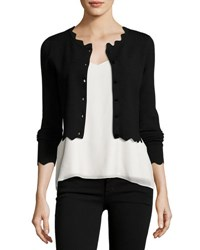 Milly Scalloped Cropped Cardigan Black