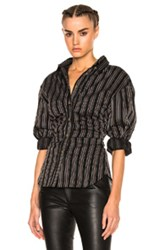 Isabel Marant Verona Top In Black Stripes Red Black Stripes Red