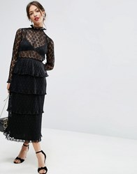 Asos High Neck Dress With Tiered Hem In Lace Black