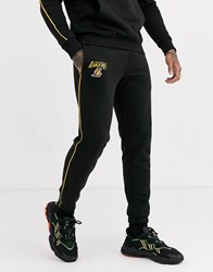 New Era Nba Los Angeles Lakers Striped Piping Co Ord Jogger In Black