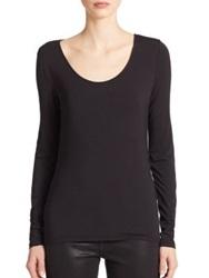 Elie Tahari Netta Long Sleeve Tee White Black