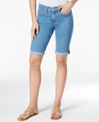 Nydj Briella Denim Cuffed Dark Enzyme Wash Bermuda Shorts Milwaukee