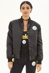 Forever 21 Nfl Steelers Bomber Jacket Black White