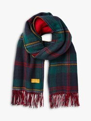 Joules Upton Check Fringe Scarf Red Multi