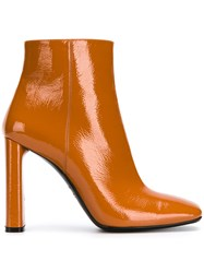 Casadei Varnished Ankle Boots Yellow And Orange