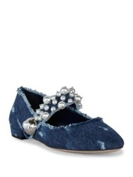 Miu Miu Pearl Bead Trim Frayed Denim Mary Jane Flats Blue