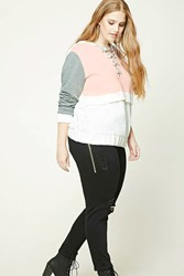 Forever 21 Plus Size Colorblock Hoodie White Pink