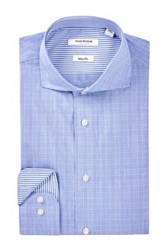 Isaac Mizrahi Blue Plaid Spread Collar Long Sleeve Modern Fit Dress Shirt