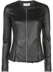 The Row Short Leather Jacket Black