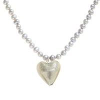 Martick Fresh Water Pearl And Murano Style Necklace Silver