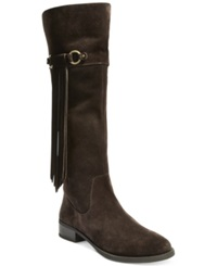 Inc International Concepts Women's Fayer Wide Calf Fringe Boots Only At Macy's Women's Shoes Dark Cocoa
