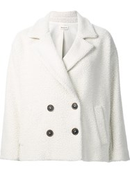 Masscob Double Breasted Short Coat White