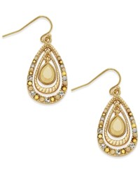 Inc International Concepts Gold Tone Stone And Crystal Triple Teardrop Orbital Drop Earrings Only At Macy's