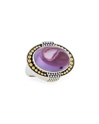 Lagos East West Amethyst Dome Statement Ring Purple