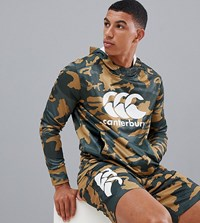 Canterbury Of New Zealand Vapodri Camo Hoodie In Khaki Exclusive To Asos Green