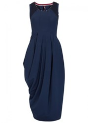 High Rehars Navy Draped Jersey Midi Dress