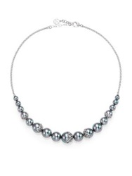 Majorica 6Mm 14Mm Grey Round Pearl And Sterling Silver Flower Necklace Silver Grey