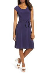 Chaus Tie Front Stretch Jersey Dress Evening Navy