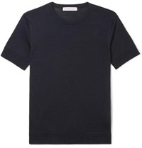 Orlebar Brown Laughton Knitted Silk And Cotton Blend T Shirt Navy
