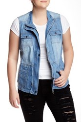 Live A Little Long Denim Vest Plus Size Blue