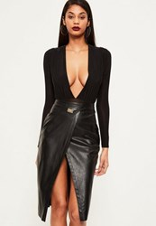 Missguided Black Wrap Over Buckle Detail Faux Leather Midi Skirt