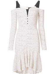J. Mendel Cut Off Shoulders Dress White