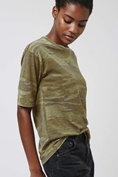 Topshop Camo Burnout Tee Green