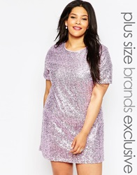 Truly You Sequin T Shirt Dress Pink