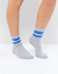 Pieces Ankle Sock With Varisty Trim White