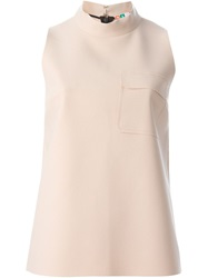 Msgm Band Collar Sleeveless Top Pink And Purple