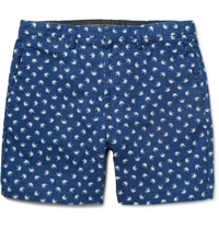 Marc By Marc Jacobs Palm Print Cotton Chambray Shorts Blue