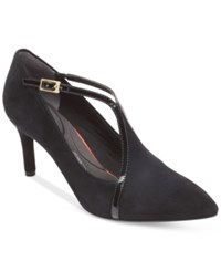 Rockport Women's T Strap Pointed Toe Pumps Women's Shoes Black Suede