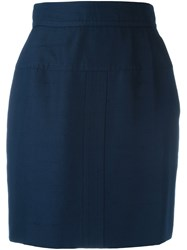 Chanel Vintage High Waist Mini Skirt Blue
