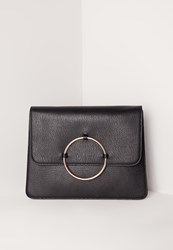 Missguided Circle Trim Oversized Clutch Bag Black Black