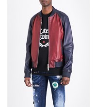 Dsquared2 Block Colour Leather Bomber Jacket Red Blue